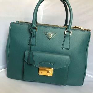 NWT Prada  Saffiano Lux Ottanio handbag large